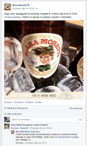 birra moretti post facebook