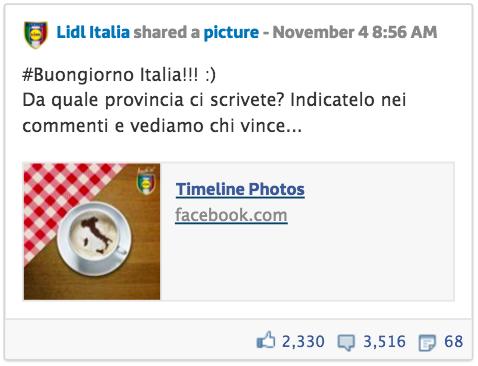 Post Lidl Italia Facebook