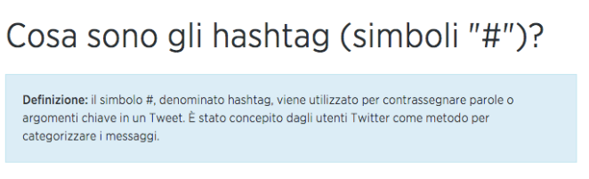 definizione hasthtag twitter