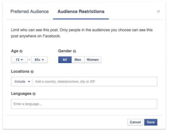 Facebook Audience optimization feature - Restrictions