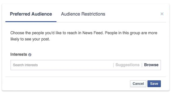 Facebook Audience optimization feature - Preferred