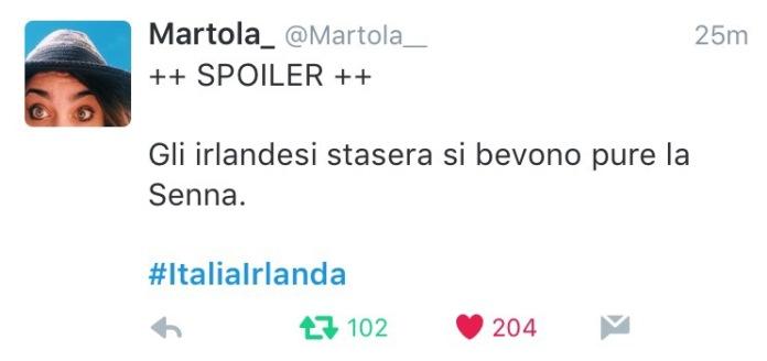 euro2016: Italia -  Irlanda tweet