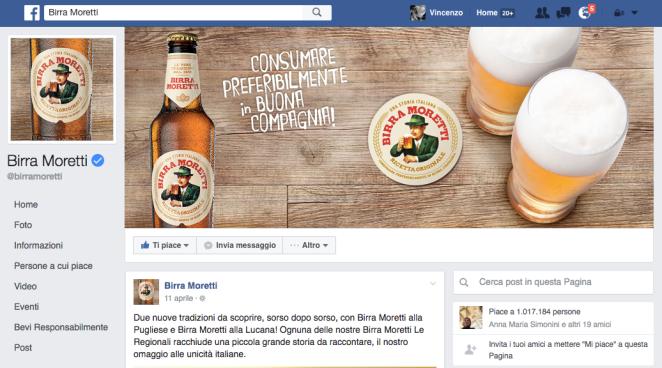 pagina facebook birra moretti